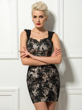 Ladylike Sheath Straps Lace Mini Cocktail Dress