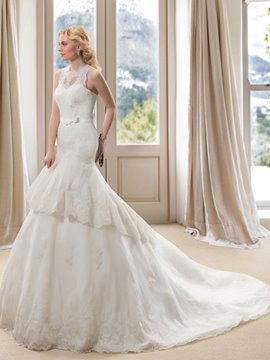 Glamorous Jewel Neck Mermaid Applqiues Tiered Lace-up Long Wedding Dress