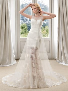 Pretty Scoop Neck Beading Zipper-up Lace Wedding Dress