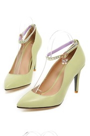 Rhinestone Decorated Pointed Toe Ankle Strap Prom Shoes