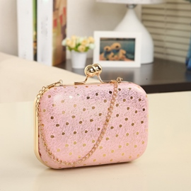 Candy Color Sequins Decorated Chain Evening Bag
