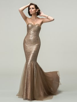 Sexy Trumpet Sweetheart Crystal Sequins Evening Dress