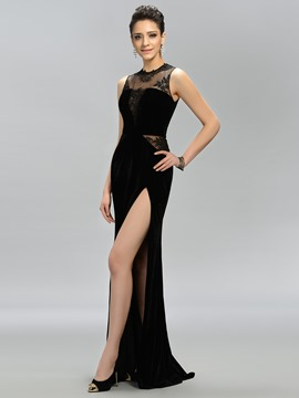 Unique Jewel Appliques Side-Split Mermaid Evening Dress