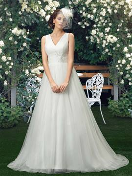 Charming V-Neck Court Train A-Line Appliques Wedding Dress