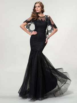 Charming Trumpet Scoop Tulle Jewel Neck Long Evening Dress