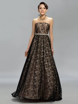 Strapless A-Line Lace Floor-Length Evening Dress