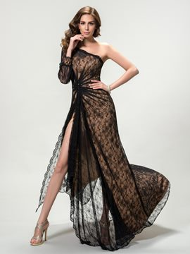 Sexy One Shoulder Split-Front Lace A-Line Sweep Train Evening Dress