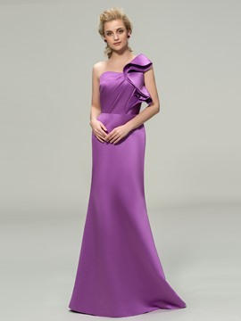Elegent One Shoulder Floor-Length Bridesmaid Dress