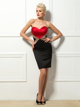 Contrast Color Sheath Sweetheart Short Cocktail Dress