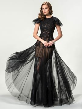 Lace Column Cap Sleeves Floor-Length Evening Dress
