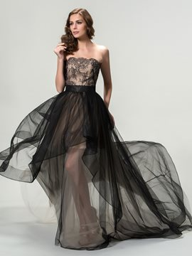 Timeless Strapless A-Line Appliques Long Evening Dress