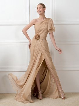 One-Shoulder Sweep Train Side-Split Evening Dresses