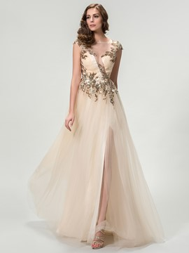 Scoop Neck A-Line Sequins Floor-length Evening Dress