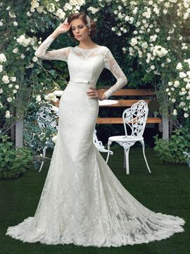 Glamorous Button Long Sleeves Mermaid Wedding Dress