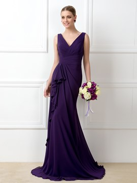 Stylish A-Line V-Neck Ruffles Floor-Length Bridesmaid Dress