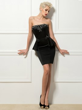 Stunning Strapless Beading Sheath Short Cocktail Dresses