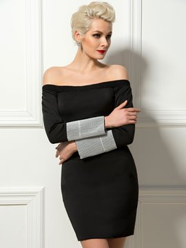 Sexy Off-the-Shoulder Long Sleeves Sheath Cocktail Dress