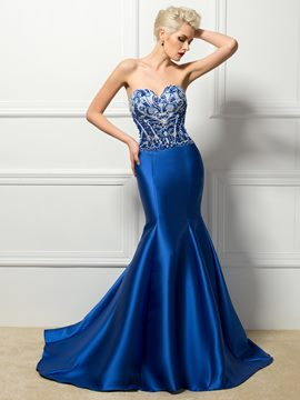 Charming Sexy Strapless Beading Trumpet/Mermaid Evening Dress