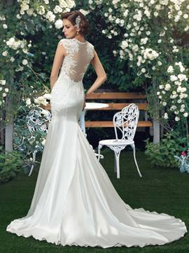 Straps Appliques Court Train Mermaid Wedding Dress
