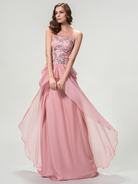 Scoop Beading A-Line Floor-Length Evening Dress
