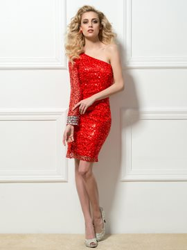Charming One-Shoulder Long Sleeve Sequins Beading Short Cocktail Dress