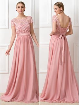 Lace Sweep-Train Short Sleeves Bridesmaid Dresses