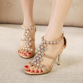 Ericdress Ethnic Luxrious Rhinestone Peep-toe Sandals