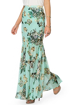 Ericdress Green Floral Mermaid Maxi Skirt