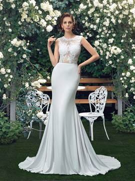 Lace Trumpet/Mermaid Zipper-Up Sweep/Brush Train Wedding Dress