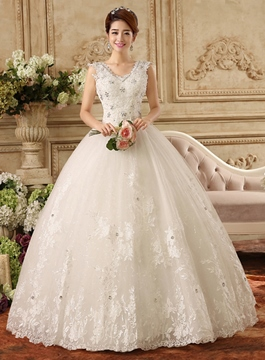 Ericdress V-Neck Appliques Ball Gown Wedding Dress