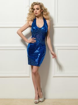 Shiny Sheath Halter Appliques Sequins Short Cocktail Dress