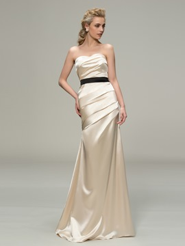 Ruched Strapless Mermaid Long Bridesmaid Dress
