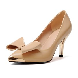 Bowknot Decorated Metallic Pointed Toe Pumps