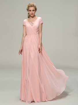 V-Neck Short Sleeves A-Line Bridesmaid Dress