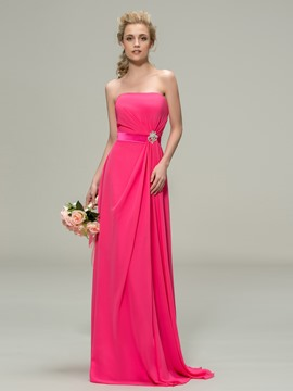 Classic Strapless Floor-Length Rhinestone Bridesmaid Dress