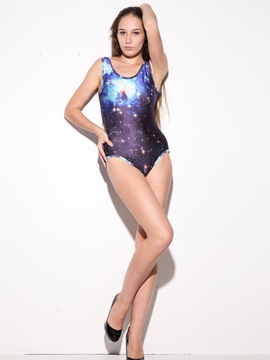 Ericdress Dark Blue Gradient Galaxy Print Monokini