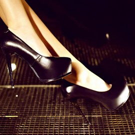 Sexy Genuine Leather Platform Heels Pumps