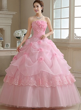Ericdress Strapless Ball Gown Handmade Flower Floor-Length Quinceanera Dress
