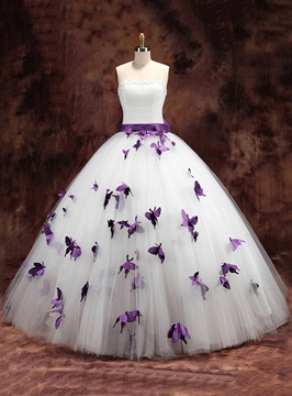 Ericdress Charming Straps Butterfly Ball Gown Wedding Dress