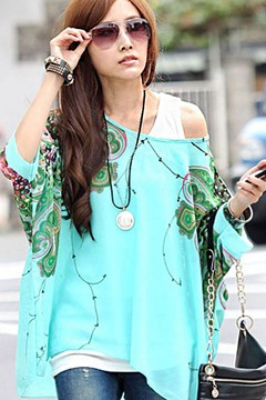 Ericdress Sky Blue Flower Print Chiffon Blouse