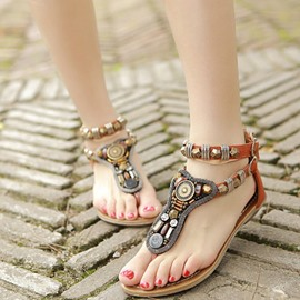 Ethnic Halter Thong Flat Sandals