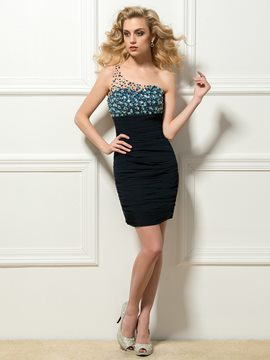 Modern One-Shoulder Beading Ruched Short Cocktail Dress