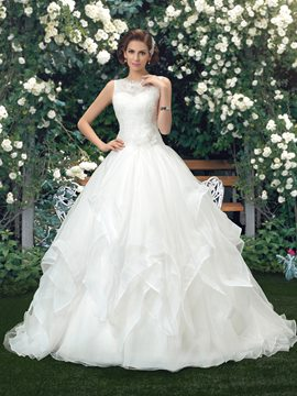 Charming Lace Sweep/Brush Train Ball Gown Wedding Dress