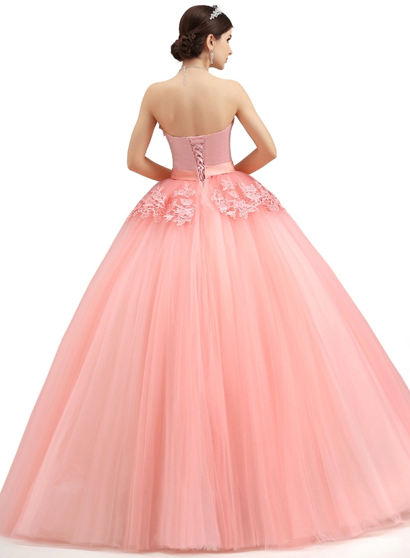 Strapless Pearls Appliques A-Line Lace-up Long Quniceanera Dress