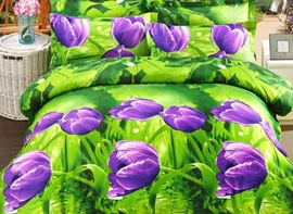 Ericdress Sunshine Purple Tulip Print 3D Bedding Sets