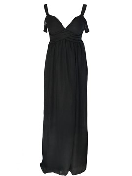 Ericdress Black Chiffon Sexy Sleeveless Maxi Dress