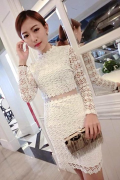 Ericdress Sweet Lace Long Sleeve Dress