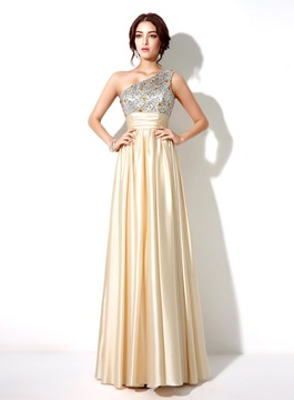 Ericdress Stylish Beaded Sequins One-Shoulder Long Prom Dress