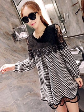 Ericdress Houndstooth Lace Patchwork Loose Long Sleeve Dress