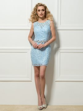 Round Neck Sheath Lace Beadings Crystal Short Cocktail Dress